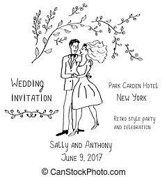 Wedding invitation design, handdrawn style - with bride and ...