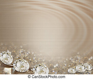 Wedding invitation diamonds satin