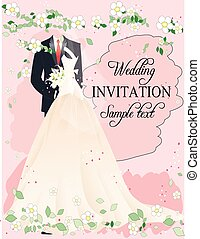 Wedding invitation elegant, floral, simple