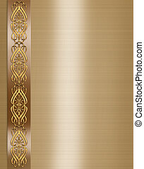 3D scroll accents Illustration for elegant formal Wedding invitation, border or Background on gold satin texture with copy space