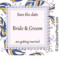 Wedding invitation feather
