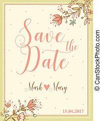 Wedding invitation floral card.
