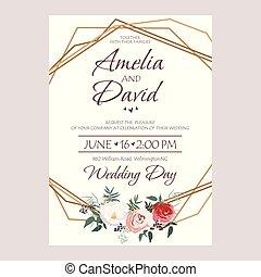 Wedding Invitation, floral invite card Design Peach lavender...