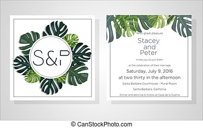 Wedding Invitation, floral invite thank you, rsvp modern card Design: green tropical palm leaf greenery eucalyptus branches decorative wreath and frame pattern. Vector elegant watercolor rustic template