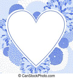 Floral romantic vector background with heart.