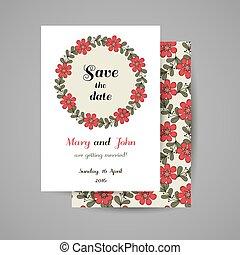Wedding Invitation Floral Wreath