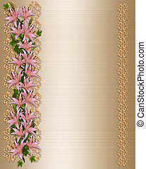 Wedding invitation Gold satin lily