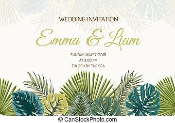 Wedding invitation green turquoise tropical leaves - Wedding...