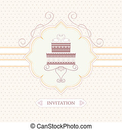 wedding cake - wedding invitation, greeting card or...