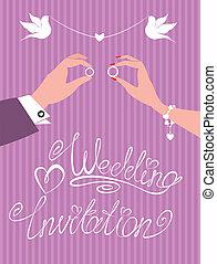 wedding invitation -  groom, bride