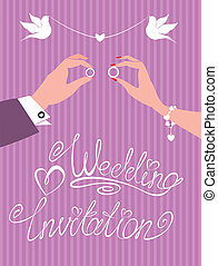 wedding invitation -  groom, bride
