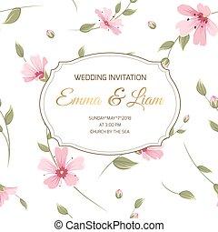 Wedding invitation gypsophila floral banner card - Wedding ...