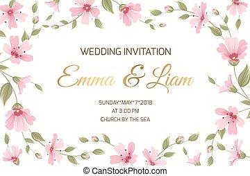 Wedding invitation gypsophila flowers border frame - Wedding...
