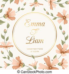 Wedding invitation gypsophila flowers crimson gold - Wedding...