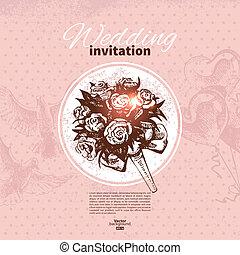 Wedding invitation. Hand drawn illustration