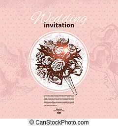 Wedding invitation. Hand drawn illustration