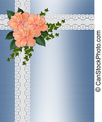 Wedding invitation hibiscus lace