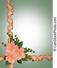 Wedding invitation hibiscus ribbons