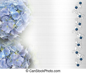 Image and illustration composition of beautiful blue hydrangea flowers on white satin like background for wedding, anniversary or special occassion invitation with crystal accents and copy space