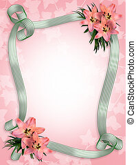 Wedding invitation lilies Border