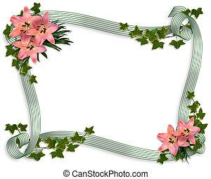 Wedding invitation lilies Border
