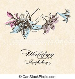Wedding invitation, lily flower decoration