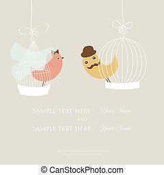 Wedding invitation or bridal shower card with two cute birds in the cages.