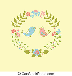 Wedding invitation or greeting card design with cute floral wreath and birds couple.