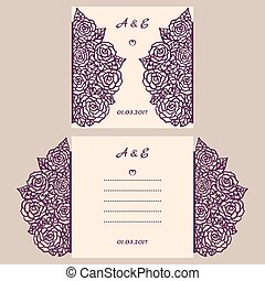 Wedding invitation or greeting card with abstract ornament....