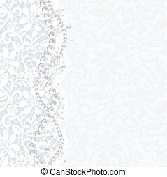 Wedding, invitation or greeting card with lace background and pearl necklace