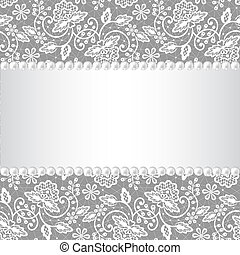 pearl frame on lace background