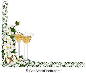 Calla lilies border wedding invitation Image and stock photo