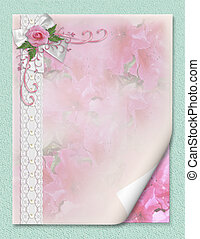 Wedding invitation pink rose