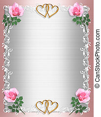 Wedding invitation Pink Satin Shabby chic - Image and...