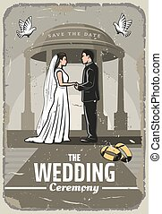 Wedding invitation retro card with bride and groom