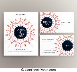 wedding invitation, rsvp and thankyou card design template