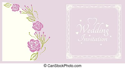 Wedding invitation. Sample for postcard with purple roses