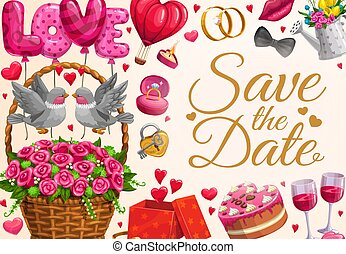 Wedding invitation, Save the Date love hearts