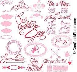 Wedding invitation set with floral elements, frames, calligraphi