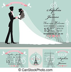 Wedding invitation set.Bride,groom,Eiffel tower