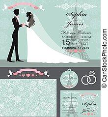 Wedding invitation set.Bride,groom,Paris Winter