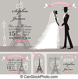 Wedding invitation set.Retro Bride,groom,Eiffel tower