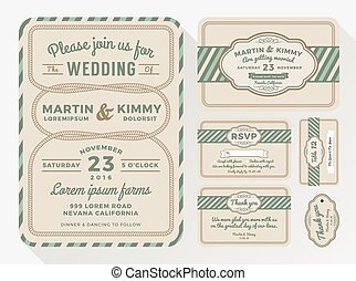 Wedding invitation sets for your lovely and friendly celebration design with rope looped. include save the date, respond card, thank you card, Place card and gift tags. Vector illustration