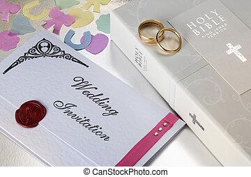 Wedding Invitation - A Wedding Invitation and Holy Bible.