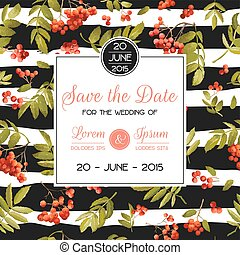 Wedding Invitation Template. Floral Greeting Card with...