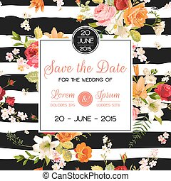 Wedding Invitation Template. Floral Greeting Card with Lily and Orchid Flowers. Decoration for Marriage Party Celebration. Vector illustration