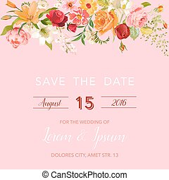 Wedding Invitation Template. Floral Save the Date Card with Lily and Orchid Flowers. Decoration for Marriage Party Celebration. Vector illustration