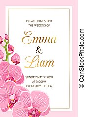 Wedding invitation template pink orchid frame gold