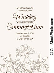 Wedding invitation template rose peony sepia brown