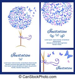 Wedding invitation template set with butterflies in blue color